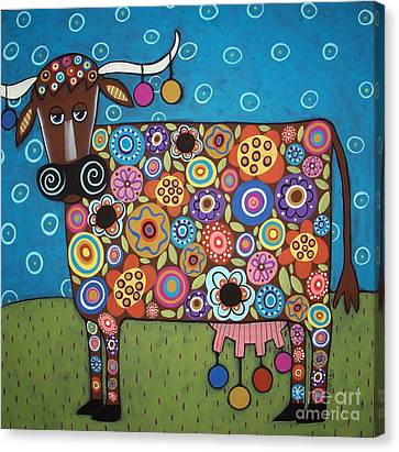 Blooming Cow Canvas Print by Karla Gerard