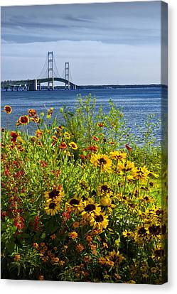 Blooming Flowers By The Bridge At The Straits Of Mackinac Canvas Print by Randall Nyhof