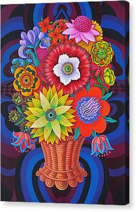 Blooms In A Basket Canvas Print by Jane Tattersfield