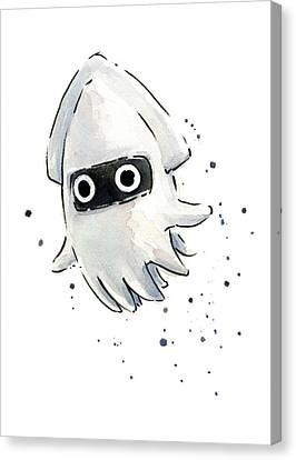 Squid Canvas Print - Blooper Watercolor by Olga Shvartsur