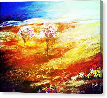 Canvas Print featuring the painting Blossom Dawn by Winsome Gunning