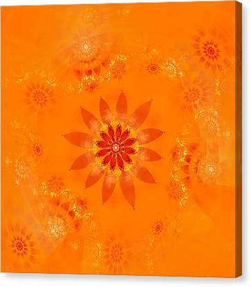 Canvas Print featuring the digital art Blossom In Orange by Richard Ortolano