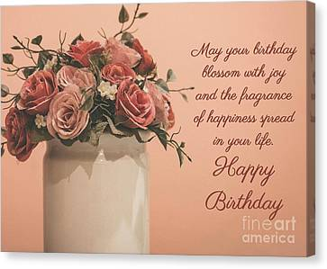 Canvas Print featuring the digital art Blossom With Joy Birthday by JH Designs