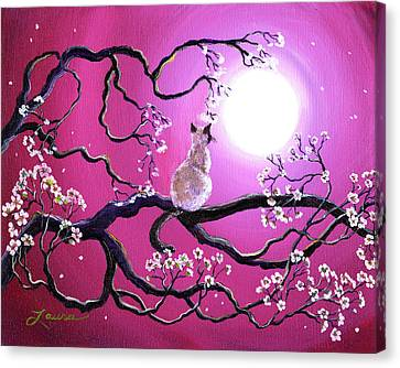 Blossoms In Fuchsia Moonlight Canvas Print by Laura Iverson