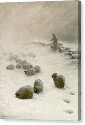 Blow Blow Thou Wintery Wind Canvas Print by Joseph Farquharson