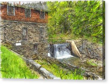 Blow Me Down Mill Cornish New Hampshire Pencil Canvas Print by Edward Fielding