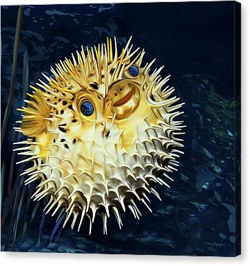 Canvas Print featuring the digital art Blowfish by Thanh Thuy Nguyen