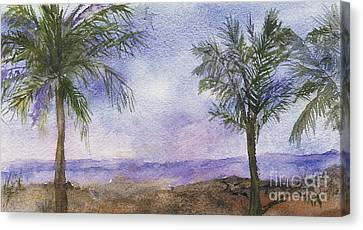 Canvas Print featuring the painting Blowing By The Ocean by Vicki  Housel