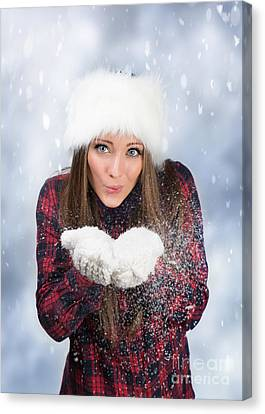 Blowing Snow In Winter Canvas Print by Amanda Elwell