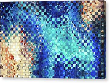 Earthy Canvas Print - Blue Abstract Art - Pieces 2 - Sharon Cummings by Sharon Cummings