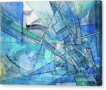 Canvas Print featuring the painting Blue Abstract  by Robert Anderson