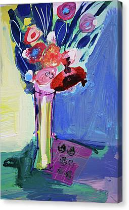 Blue Abstract Still Life With Red Flowers Canvas Print by Amara Dacer