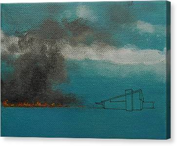 Blue Alexander With Brush Fire Canvas Print by Stan  Magnan