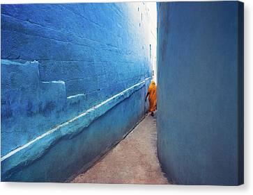 Blue Alleyway Canvas Print by Marji Lang