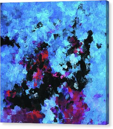 Canvas Print featuring the painting Blue And Black Abstract Wall Art by Ayse Deniz