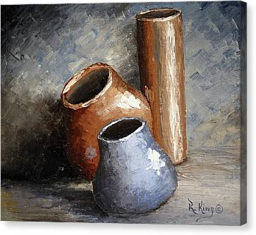 Blue And Brown Pots Canvas Print by Roena King