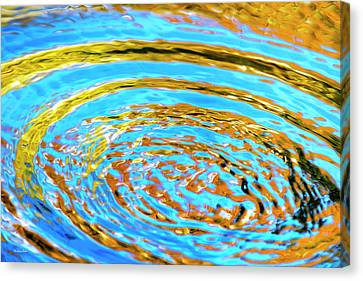 Blue And Gold Spiral Abstract Canvas Print by Christina Rollo