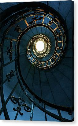 Canvas Print featuring the photograph Blue And Golden Spiral Staircase by Jaroslaw Blaminsky