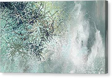 Blue And Gray Modern Abstract Art Canvas Print by Lourry Legarde