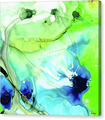 Canvas Print featuring the painting Blue And Green Abstract - Land And Sea - Sharon Cummings by Sharon Cummings