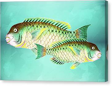 Two Fish Canvas Print - Blue And Green Fish Wall Art by Georgiana Romanovna