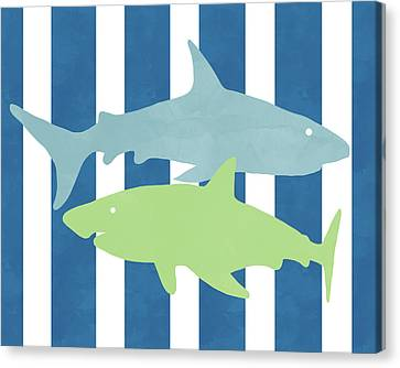 Kids Card Canvas Print -  Blue And Green Sharks- Art By Linda Woods by Linda Woods