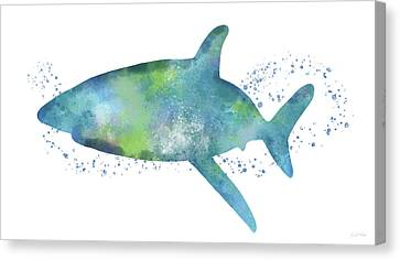 Sea Creatures Canvas Print -  Blue And Green Watercolor Shark 1-art By Linda Woods by Linda Woods