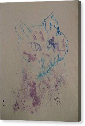 Canvas Print featuring the drawing Blue And Purple Cat by AJ Brown