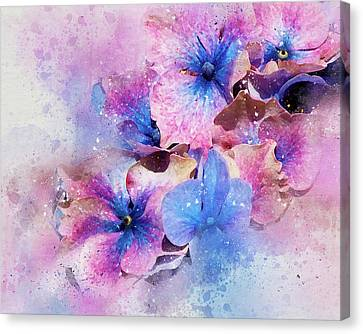 Blue And Purple Flowers Canvas Print