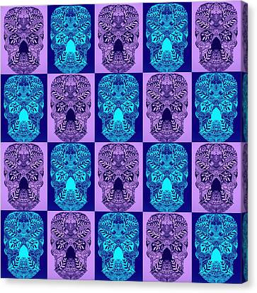 Blue And Purple Skulls Canvas Print by Cathy Jacobs