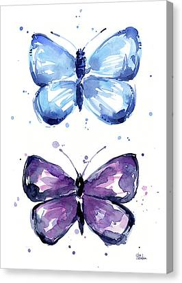 Blue And Purple Watercolor Butterflies Canvas Print by Olga Shvartsur