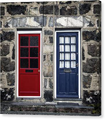 Blue And Red Doors Canvas Print