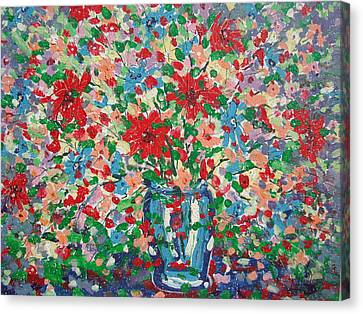 Blue And Red Flowers. Canvas Print