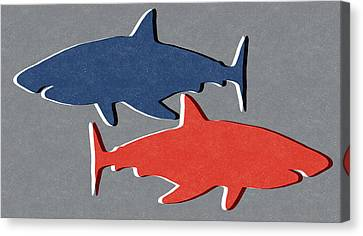 Blue And Red Sharks Canvas Print by Linda Woods