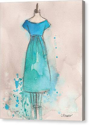 Loose Watercolor Canvas Print - Blue And Teal Dress by Lauren Maurer