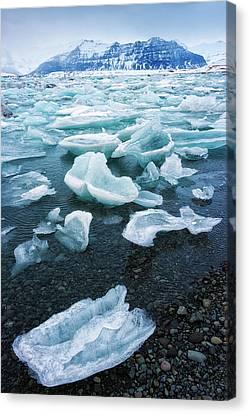 Blue And Turquoise Ice Jokulsarlon Glacier Lagoon Iceland Canvas Print by Matthias Hauser