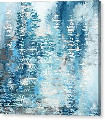 Winter Light Canvas Print - Blue And White Abstract by Lourry Legarde