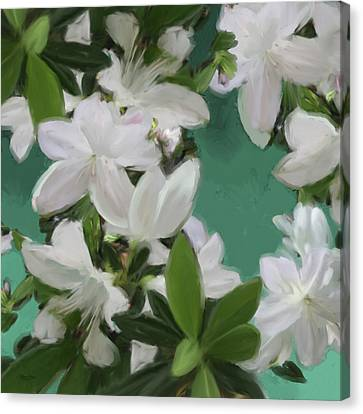 Blue And White Flower Art 2 Canvas Print