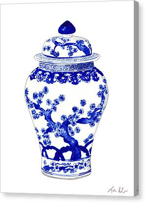 White Pines Canvas Print - Blue And White Ginger Jar Chinoiserie 10 by Laura Row