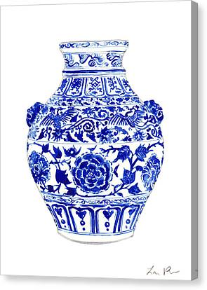 Eastern Canvas Print - Blue And White Ginger Jar Chinoiserie 4 by Laura Row