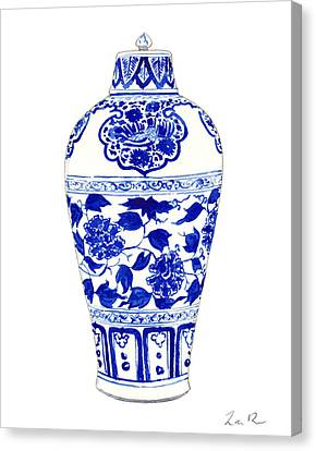 Blue And White Ginger Jar Chinoiserie Jar 1 Canvas Print by Laura Row