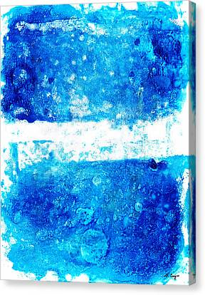 Color Block Canvas Print - Blue And White Modern Art - Two Pools 2 - Sharon Cummings by Sharon Cummings