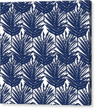Blue And White  Palm Leaves 3 - Art By Linda Woods Canvas Print