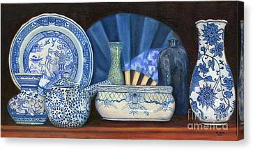 Canvas Print featuring the painting Blue And White Porcelain Ware by Marlene Book