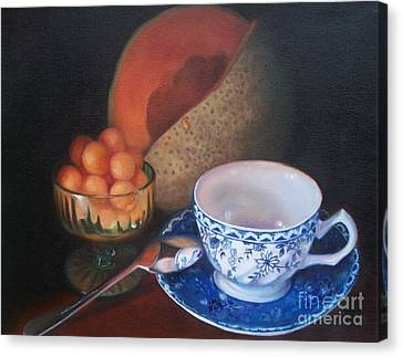Blue And White Teacup And Melon Canvas Print by Marlene Book
