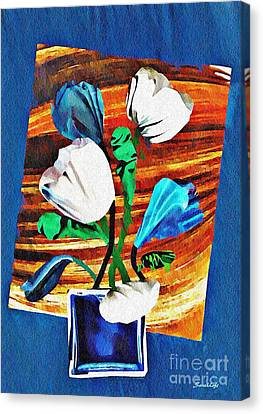 Blue And White Tulips Canvas Print