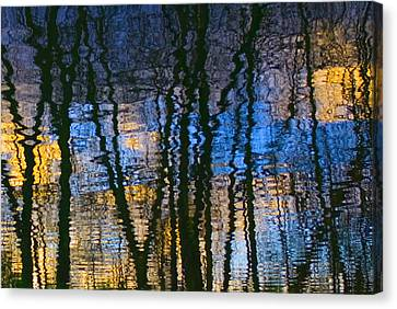 Blue And Yellow Abstract Reflections Canvas Print by Pixie Copley