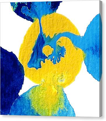 Blue And Yellow Sea Interactions A Canvas Print