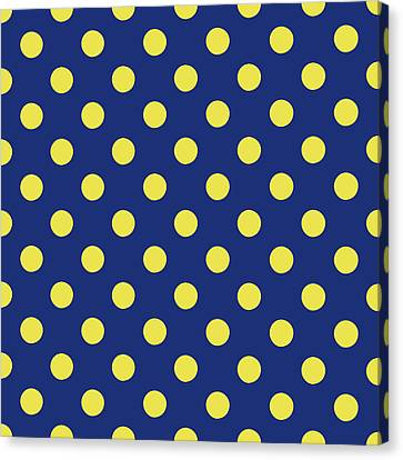 Blue And Yellow Polka Dots- Art By Linda Woods Canvas Print