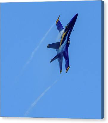 Canvas Print featuring the photograph Blue Angel 5 Contrails by Randy Scherkenbach